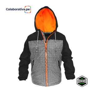 Casaca Winter Diamond Negro Naranja Neon