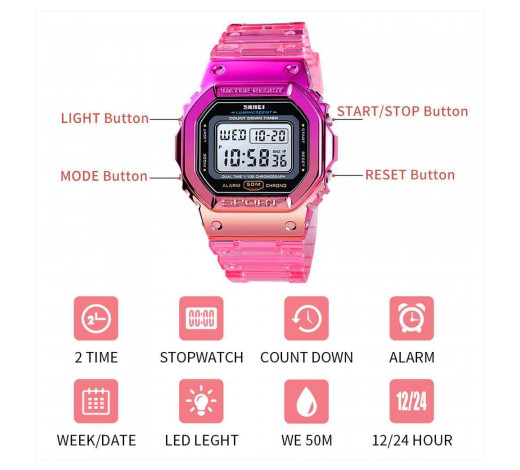 Reloj digital deportivo Rosado